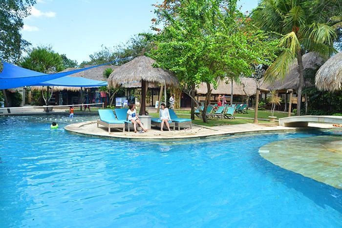 ヤシの木や熱帯のガーデンに囲まれながらビーチクラブのプールでリラックス。