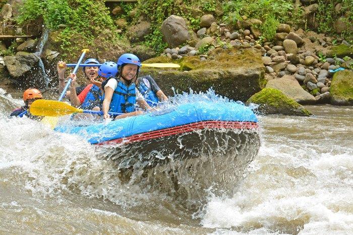熱帯の魅力がいっぱいのアユン川でウブドの森に深く刻まれた谷間を蛇行し下っていきます。