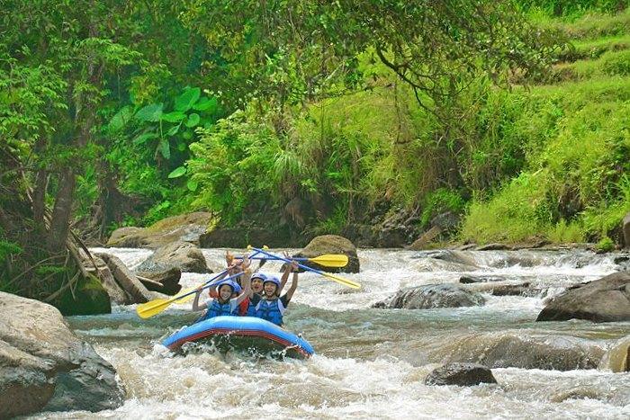 ラフティングの等級2~3の急流、ゆったりした流れの合間に悠然と広がるジャングルを楽しもう。